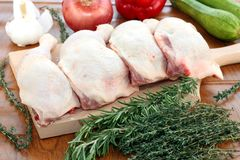 Chicken thighs for cooking a casserole Stock Images