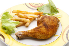 Chicken thighs with Fries Royalty Free Stock Image