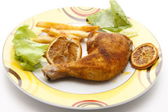 Chicken thighs with Fries Royalty Free Stock Photos