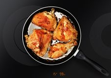 Chicken thighs on frying pan stock photography