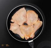 Chicken thighs in a frying pan stock image