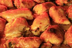 Chicken thighs inside oven. Chicken thighs being cooked inside oven Stock Photos