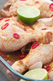 Chicken Thighs In Marinade Royalty Free Stock Images