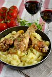 Chicken thighs with mashed potatoes Royalty Free Stock Images