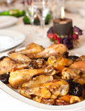 Chicken thighs on a plate Royalty Free Stock Image