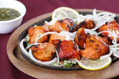 Chicken tikka. In plate ready to serve Royalty Free Stock Images