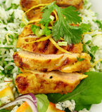 Chicken Tikka. On a bed of lemon coriander rice with salad Stock Photos