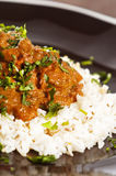 Chicken tikka. Masala served with rice and garnished with cilantro leaves Stock Image
