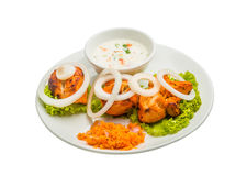 Chicken Tikka. Isolated on white background Royalty Free Stock Photo