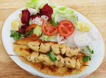 Chicken tikka kebab meal Stock Photo