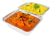 Chicken Tikka Masala Curry And Pilau Rice In Foil Take Away Trays Stock Photo