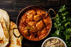 Chicken tikka masala spicy curry meat food with rice stock photos
