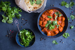 Chicken tikka masala. Traditional Indian/British dish chicken tikka masala on rustic background. Spicy chicken tikka masala/curry in bowl, indian bread naan Royalty Free Stock Images