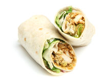 Chicken Tikka Wrap Sandwich. On white Royalty Free Stock Photography