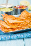 Chicken Tinga Quesadillas. Mexican quesadillas filled with spicy shredded chicken and cheese Stock Photos