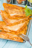 Chicken Tinga Quesadillas. Mexican quesadillas filled with spicy shredded chicken and cheese Stock Image