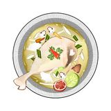 Chicken Tom Yum or Thai Sour Soup with Chicken Royalty Free Stock Image