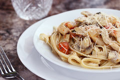 Chicken, Tomato and Basil Linguine Stock Image