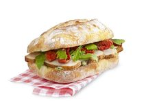 Chicken and tomato sandwich with clipping path isolated on white Stock Photography
