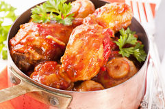 Chicken in tomato sauce Royalty Free Stock Images