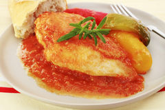 Chicken Tomato Sauce Capsicums Rosemary Basquaise Stock Image