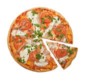 Chicken and tomatoes pizza Stock Image