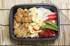 Chicken Toriyaki rice in plastic box. Japanese food Royalty Free Stock Image