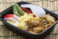 Chicken Toriyaki rice in plastic box with plastic spoon Royalty Free Stock Photography