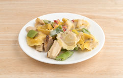 Chicken and tortellini TV dinner on a white plate Royalty Free Stock Image