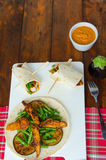 Chicken tortilla with beans and red curry Stock Photography