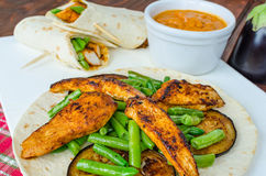 Chicken tortilla with beans and red curry Stock Image