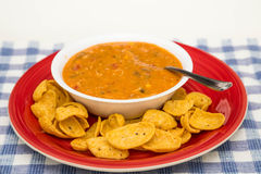 Chicken Tortilla Soup on Red Plate with Chips stock images
