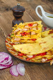 Chicken tortilla. On the wooden table Stock Photos