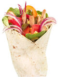 Chicken Tortilla Wrap. With paprika, tomato, onion, lettuce leaves, corns, jalapeno stock images