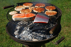 Chicken or turkey burgers and salmon fish on grill Royalty Free Stock Photography