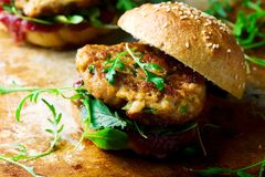 Chicken, turkey cranberry burgers Royalty Free Stock Images
