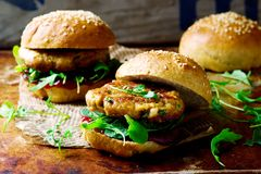 Chicken, turkey cranberry burgers Royalty Free Stock Photography
