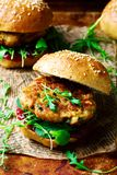 Chicken, turkey cranberry burgers Stock Images