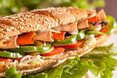 Chicken and Turkey Ham Sandwich Royalty Free Stock Images