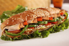 Chicken and Turkey Ham Sandwich Stock Photography