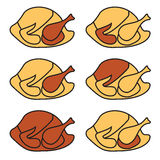 Chicken or turkey illustration. A set of illustrations of whole, cooked turkeys or chickens Stock Images
