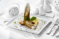 Chicken turkey meat loaf on a plate stock images