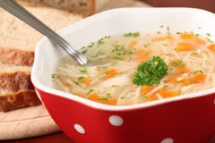 Chicken or turkey soup Stock Photos