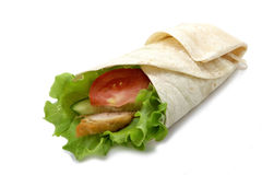 Chicken twister with vegetables. Chicken twister with vegetable isolated on white background Stock Photo