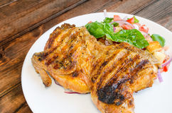 Chicken under a brick with panzanella salad Royalty Free Stock Images