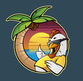 Chicken vacations. Illustration of a cartoon chicken in a caribbean beach Stock Images