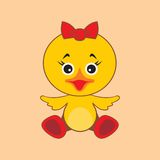 Chicken. Vector illustration. Vector illustration of chicken with a bow on her head Royalty Free Stock Image