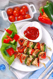 Chicken and vegetable grilled skewers Stock Photo