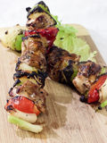 Chicken and Vegetable Kabob. A grilled chicken and vegetable kabob viewed up close Royalty Free Stock Image