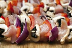 Chicken and vegetable kabobs. Royalty Free Stock Photography